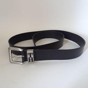 Tommy Hilfiger Black Dress Belt with Silver Buckle